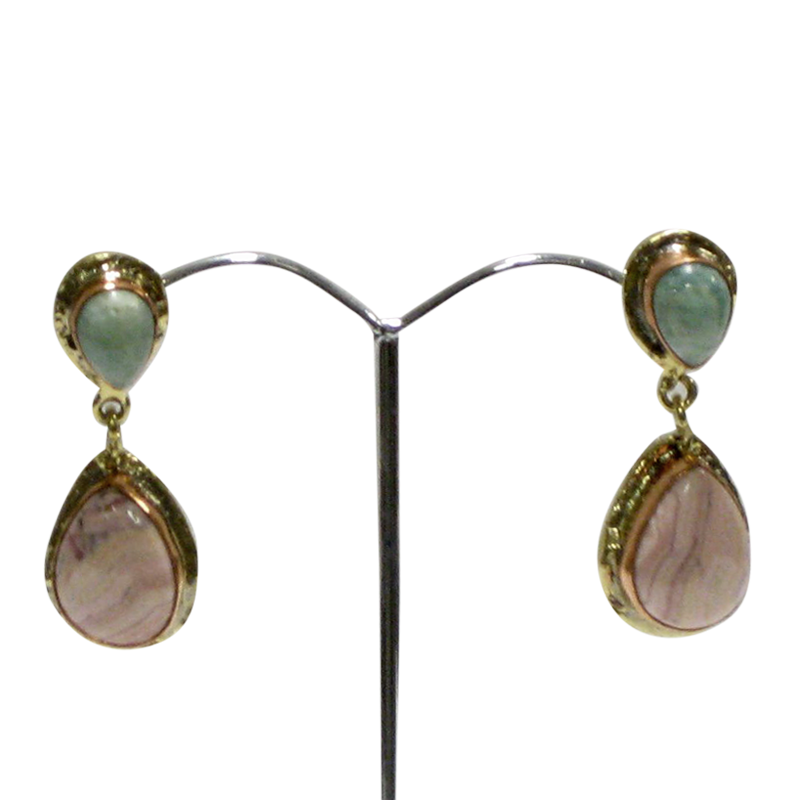 White Metal Gold Copper Amazonite & Rhodochrosite Earrings