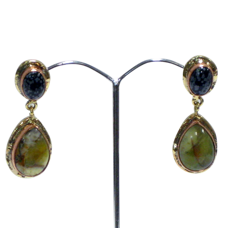 White Metal Green Opal & Snowflake Obsidian Earrings