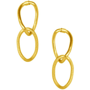 Gold Double Link Drop Earrings