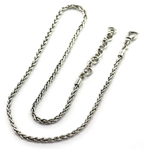 Nadi 925 Sterling Silver Wheat Style Necklace Gauge Chain 18-20""