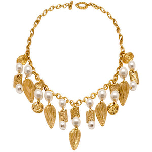 Floral Motif charms and glass Pearls Necklace in Gold