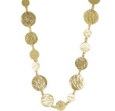Medallion Discs Long Gold Necklace