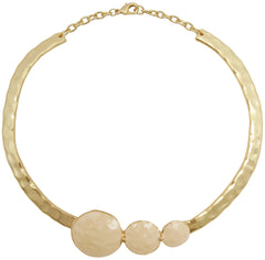 Beige Enamel 24KT Gold Plated Collar Necklace