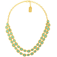 Gold Necklace with Green Enamel accents