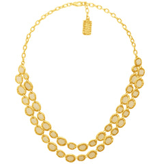 Double Row Gold Necklace with beige Enamel accents