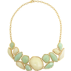 Chunky Gold Necklace with Green and Cream Beads