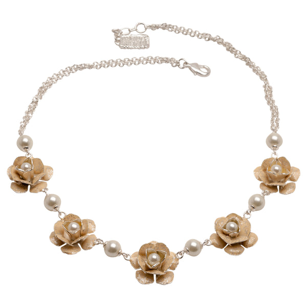 Silver Necklace with Beige Roses and glass pearls