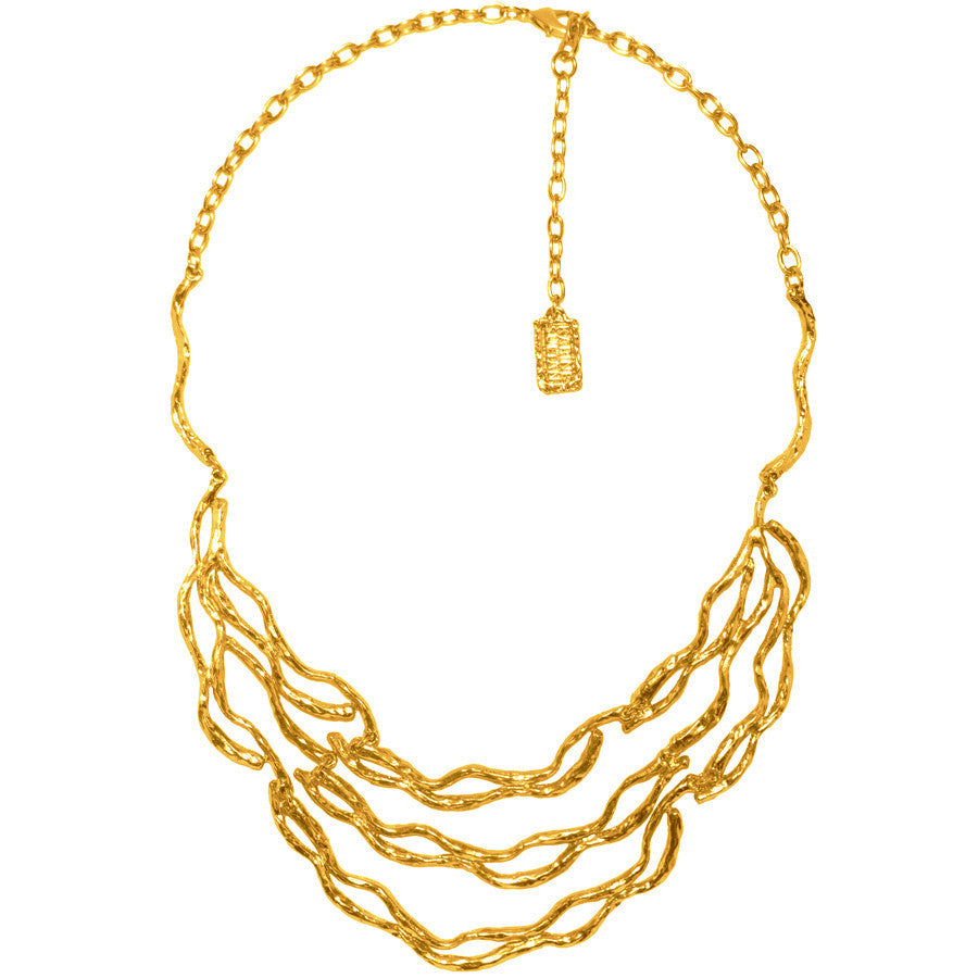 Gold Sculpted Statement Necklace