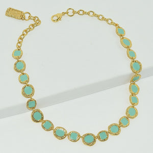 Green enamel embellished baubles 24KT gold plated necklace