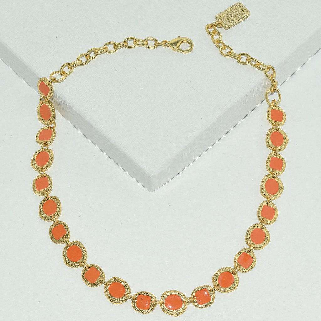 Coral enamel 24KT gold plated necklace