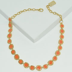 Samantha Coral Bauble Collar Necklace in Gold