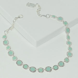 Turquoise Bauble Collar Necklace in Sterling Silver Plated