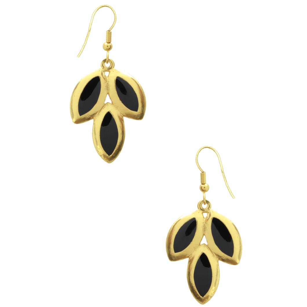 Black and Gold Leaf Earrings