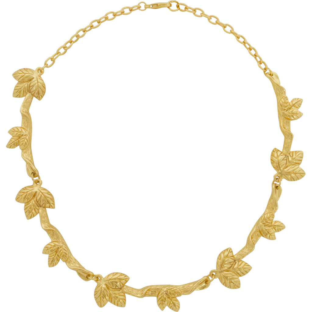 Gold Necklace with Sculpted Leaves