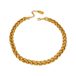 Elora Braided Link Necklace In Gold