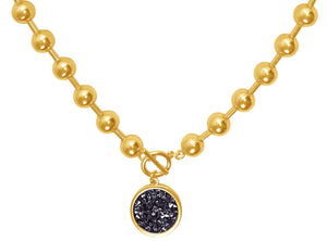Retro Charm Collar Necklace In Gold/Black Crystal
