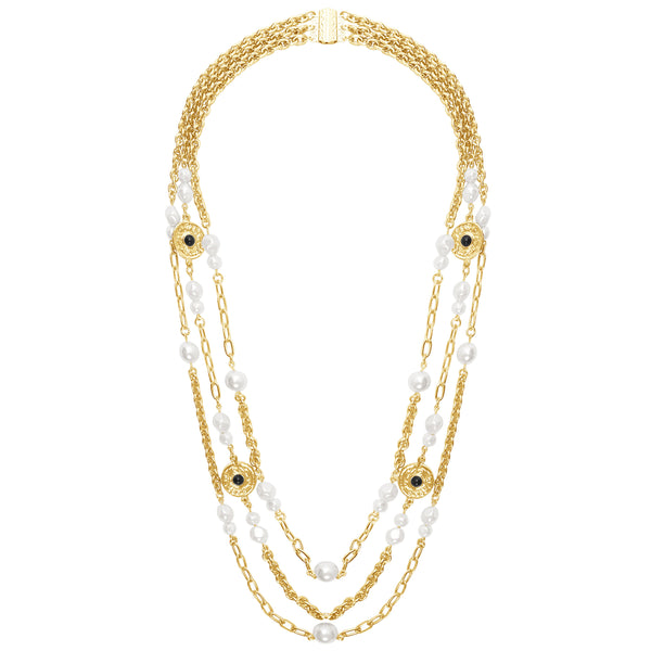 Monika Triple Strand Pearl Necklace In Gold