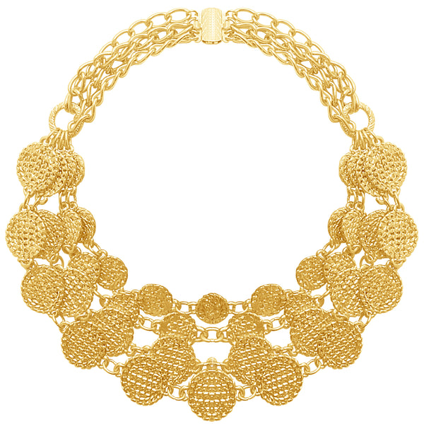 gold coin gypsy multi layered necklace