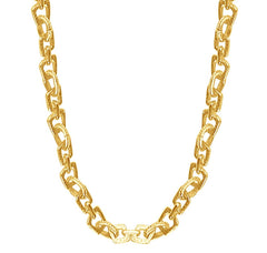 Gold long necklace with geo-cutout links