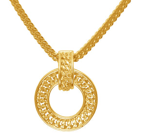 curb link chain necklace with large circular pendant