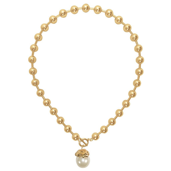 Golden Beads Pearl Necklace