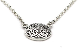 Weda 925 Sterling Silver Bali Round Filigree Necklace