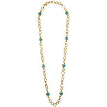 Jeanne Turquoise Beads Station Necklace In Gold