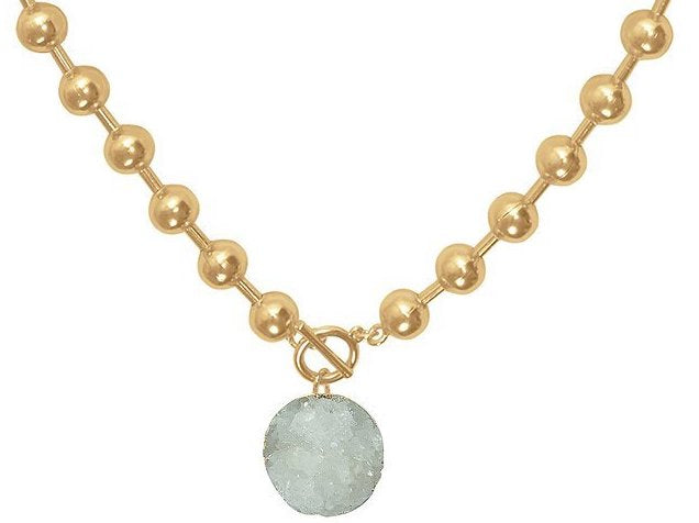 White Druzy Stone Necklace in Gold