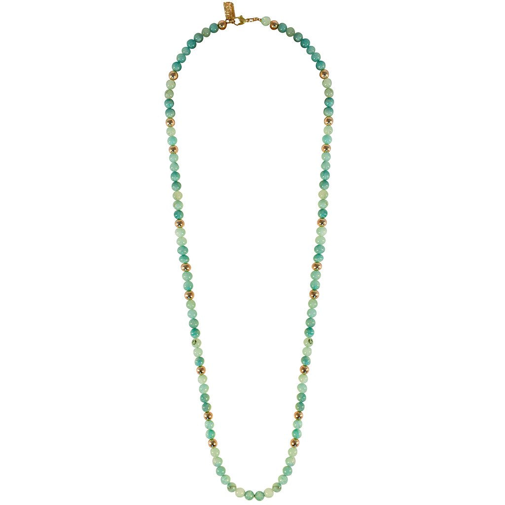 Gabby Turquoise Ritualite Long Necklace In Gold