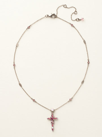 Delicate Cross Pendant Necklace - Pink Crystal