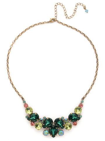 Nested Pear Statement Necklace - Green