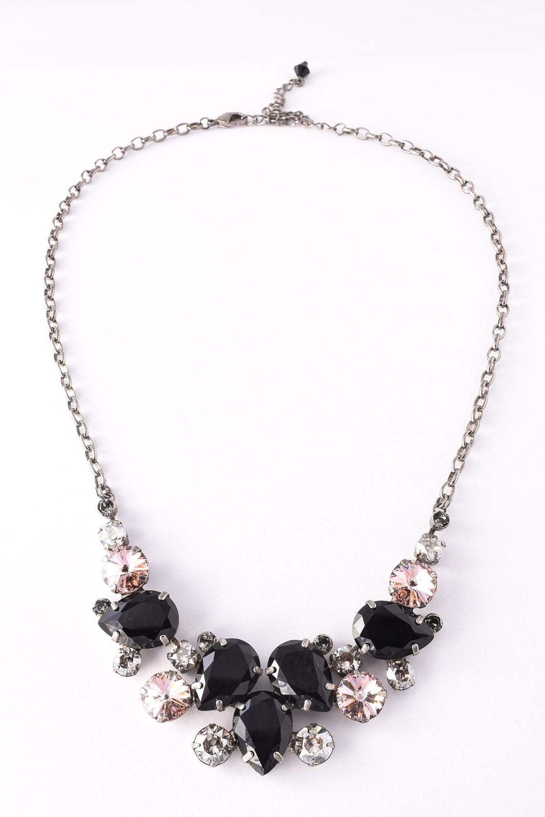Nested Pear Statement Necklace Black/Antique Silver