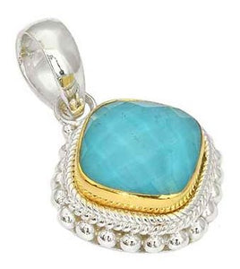 925 Sterling Silver Bali Faceted CRY Quartz over Turquoise Pendant