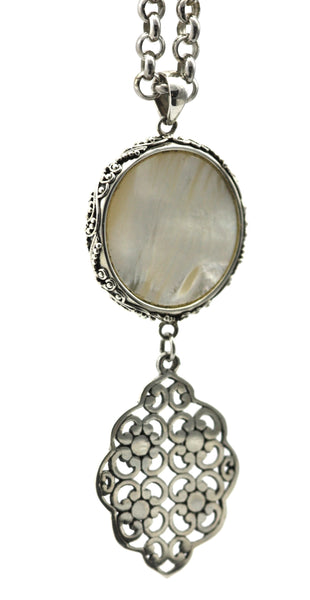 925 Sterling Silver Bali Mother of Pearl Double Drop Pendant