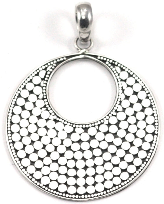 925 Sterling Silver Kala Large Disc Round Pendant