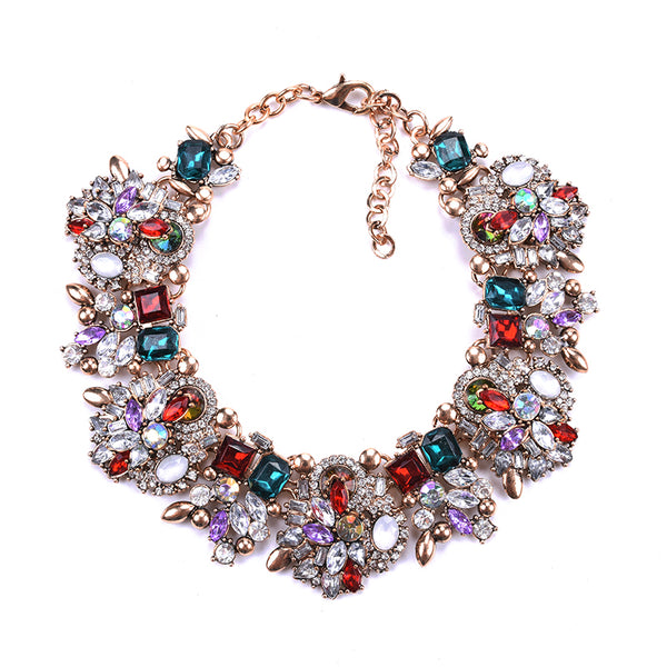 Multi Color Crystal/Rhinestone Bib Necklace