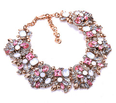 Pink Clear Crystal/Rhinestone Statement Bib Necklace