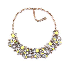 Gold Plated Sparkly Crystal/Rhinestone Choker Necklace in Lemon Zest