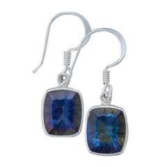 Sterling Silver Mystic Quartz Drop Earrings - Rectangular