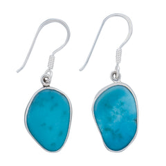 Sterling Silver Sleeping Beauty Turquoise Drop Earrings