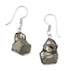 Sterling Silver Pyrite Drop Earrings