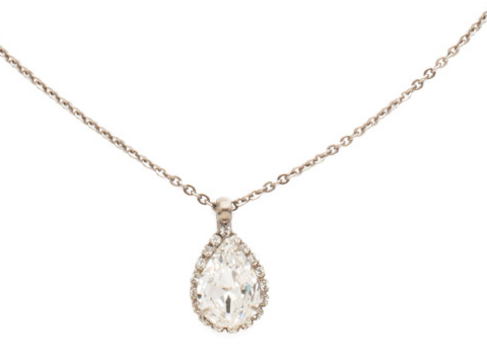 Rain Droplet Clear Crystal Pendant Necklace