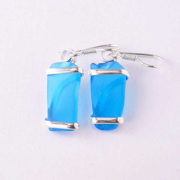 Alpaca Recycled Glass Freeform Earrings - Blue