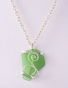 Alpaca Recycled Glass Freeform Pendant Necklace - Green