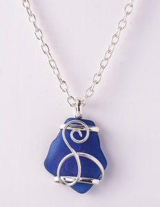 Alpaca Recycled Glass Freeform Pendant Necklace - Cobalt Blue