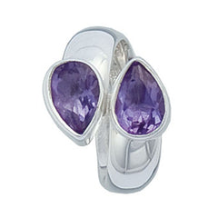 Sterling Silver Amethyst Bypass Adjustable Ring