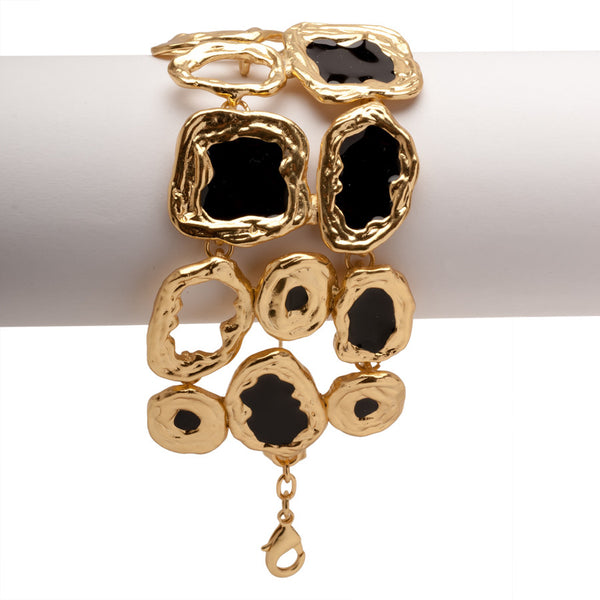 Statement Gold Bracelet With Black Discs