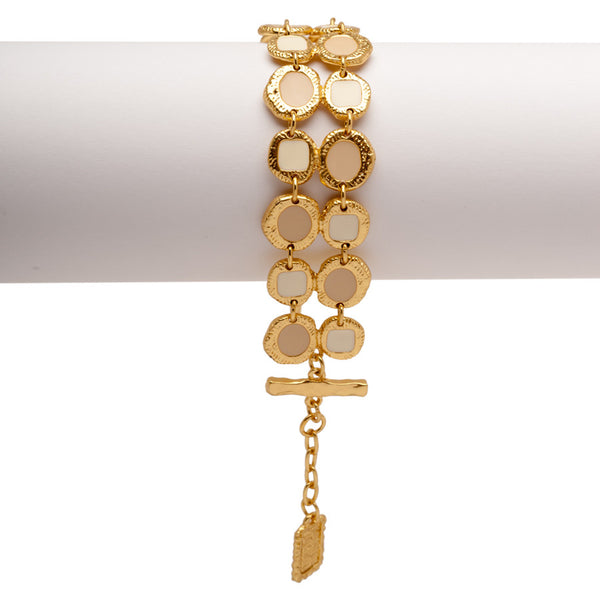 Double Strands Bracelet with Round Beige Enamel Accents
