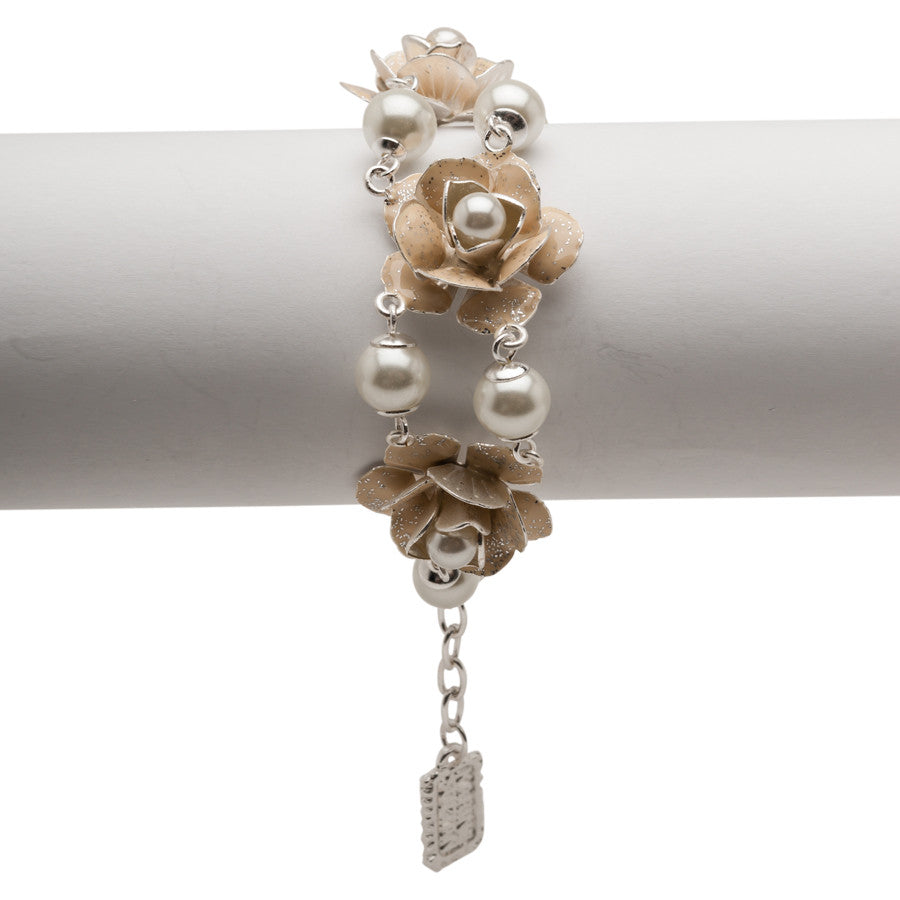Silver Bracelet with Beige Enamel Flowers and Pearls