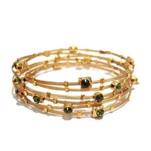 Shades of Olive Green Crystal Gold Bracelet - Set of 6